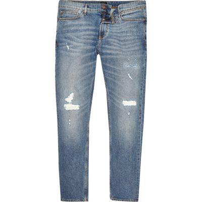 Sid Middenblauwe wash ripped skinny jeans