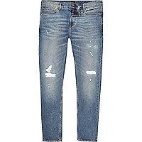 Sid – Jean skinny bleu délavage moyen déchiré