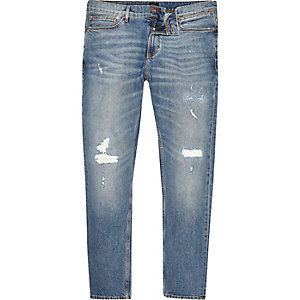 Mid blue wash ripped skinny Sid jeans
