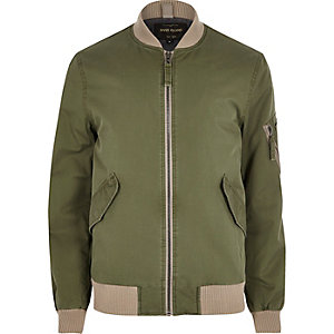Green and beige bomber jacket