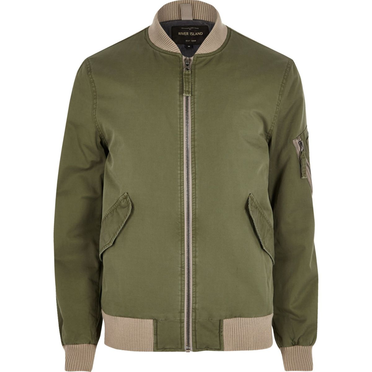Big and Tall khaki green bomber jacket