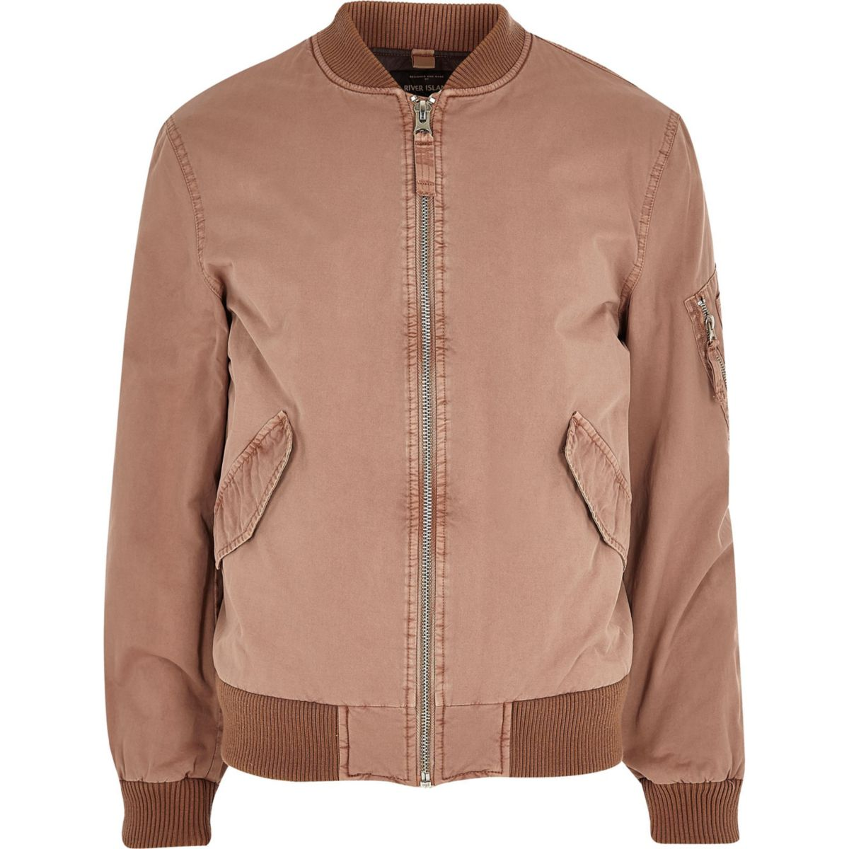 Big and Tall pink washed bomber jacket