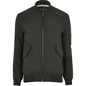 Green casual crinkle bomber jacket
