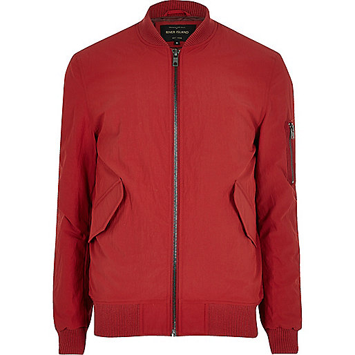 Red casual crinkle bomber jacket
