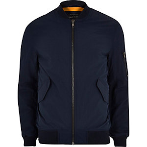 Navy blue casual crinkle bomber jacket