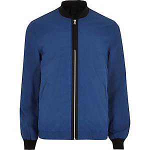 Blue contrast tape bomber jacket