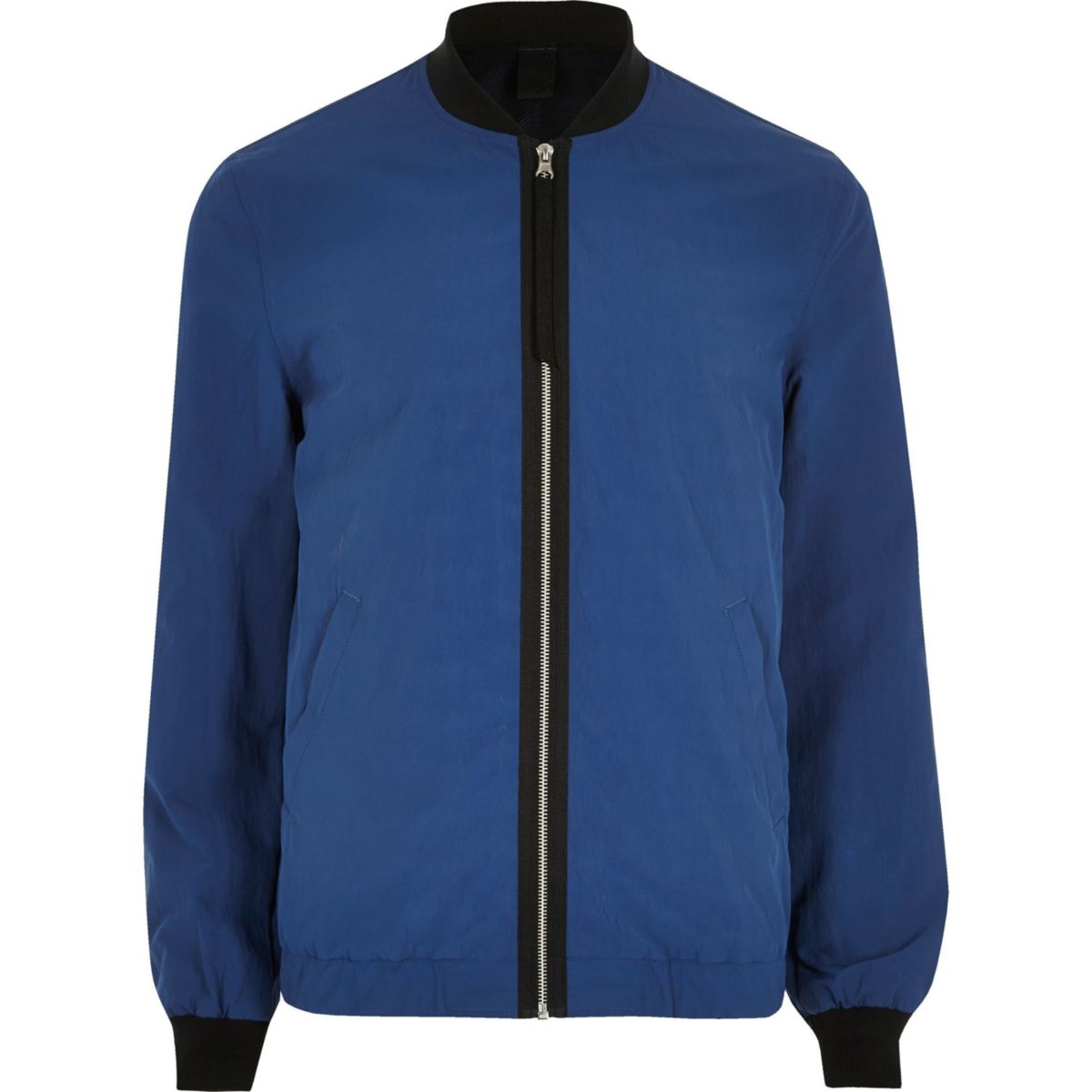 Big and Tall blue contrast tape bomber jacket