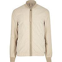 Cream contrast tape bomber jacket