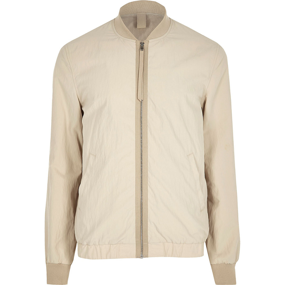 Cream contrast tape bomber jacket