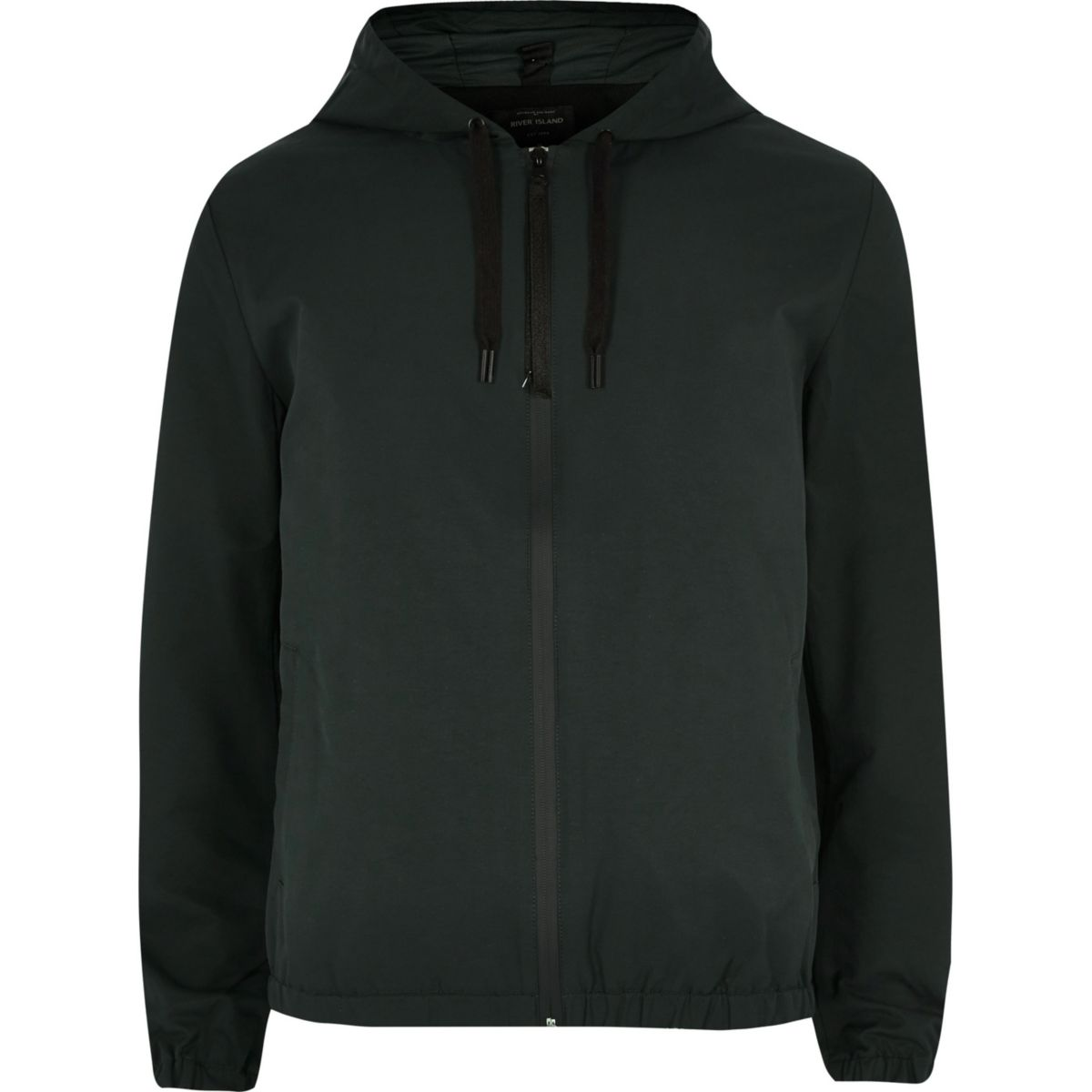 Green casual hooded jacket