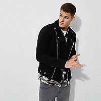Black woven biker jacket