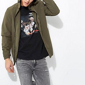 Khaki green hooded jacket