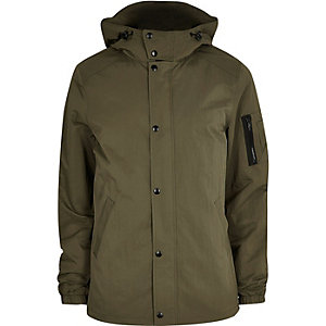 Big and Tall khaki green hooded jacket