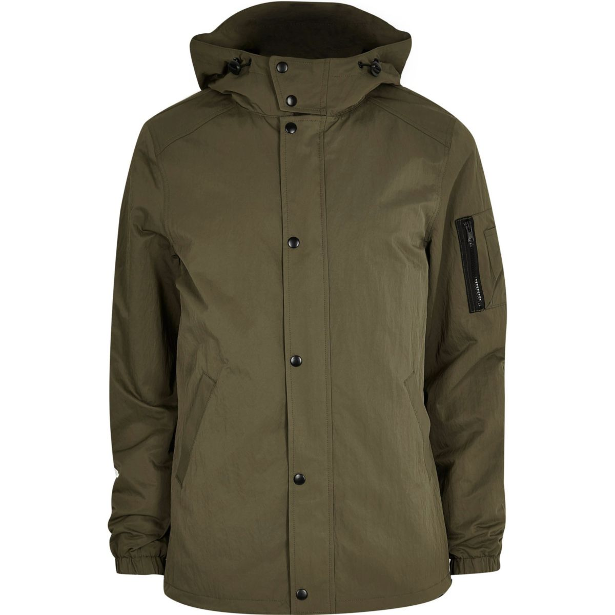 Big and Tall khaki green hooded jacket