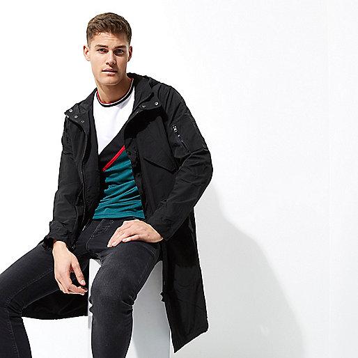 Black pocket parka coat