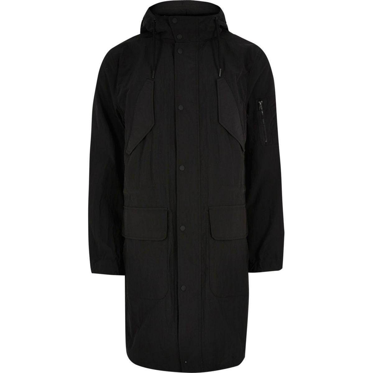 Big and Tall black lightweight parka coat