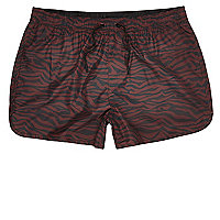 Red zebra print short swim shorts