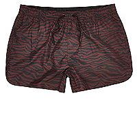 Red zebra print short swim shorts