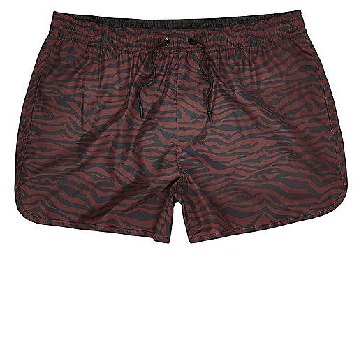 Red zebra print short swim trunks