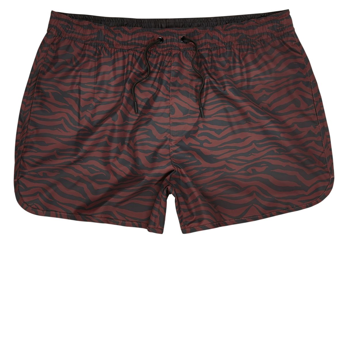 Red zebra print short swim trunks
