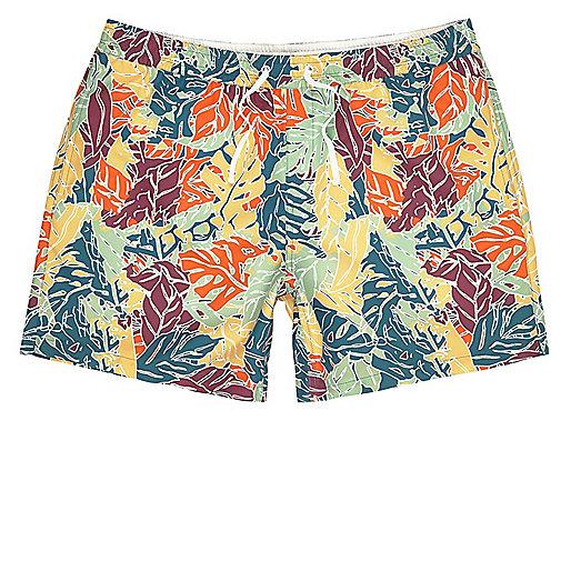 Orange palm tree print swim shorts