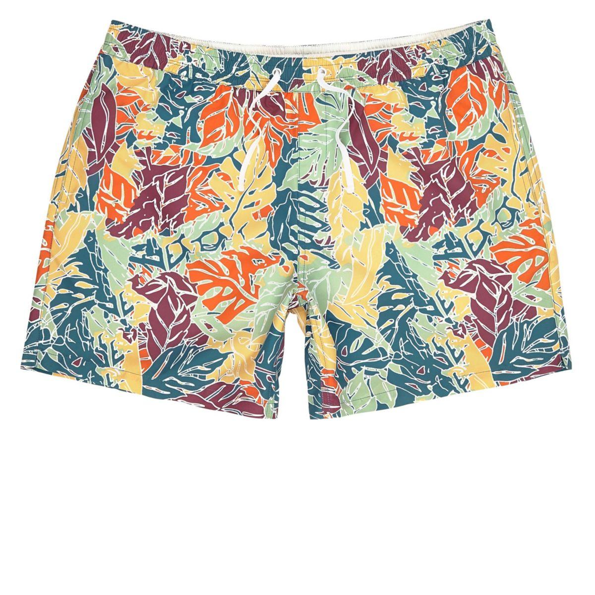 Orange palm tree print swim trunks
