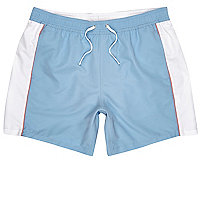 Blue color block swim trunks