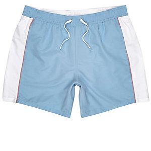 Blue colour block swim shorts