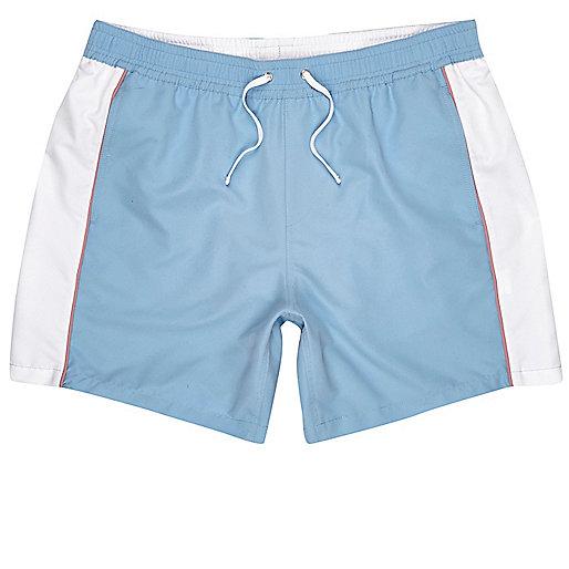 Blue color block swim trunks