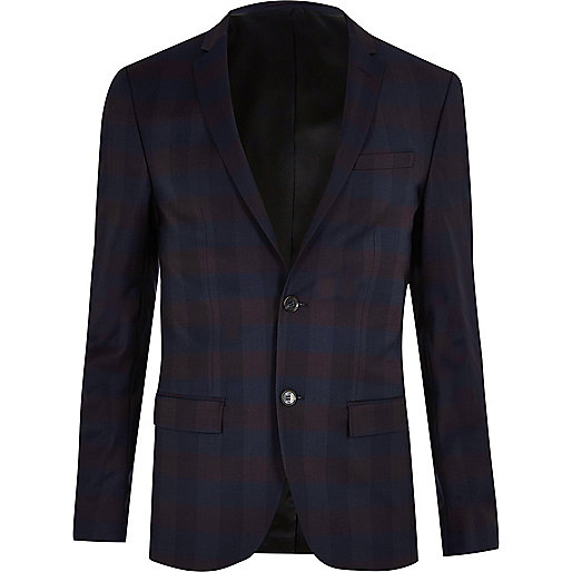 Purple skinny fit suit jacket