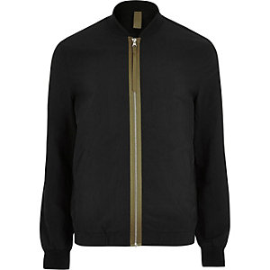 Big and Tall black contrast bomber jacket