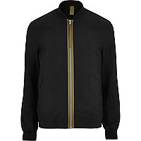 Black contrast tape bomber jacket