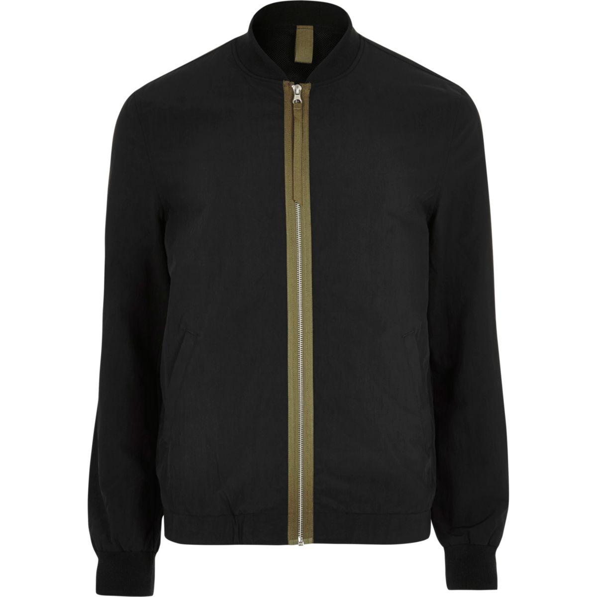Black contrast tape bomber jacket