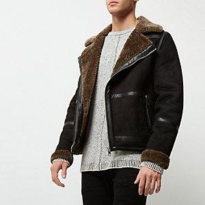 Veste en suédine noire avec doublure imitation mouton