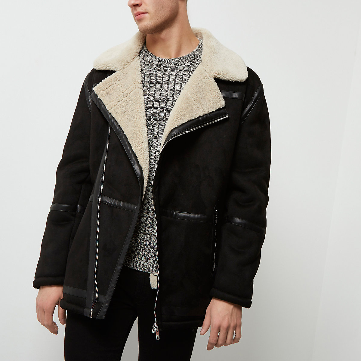 Black fleece collar faux suede jacket