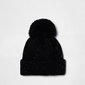 Black flecked knit bobble hat