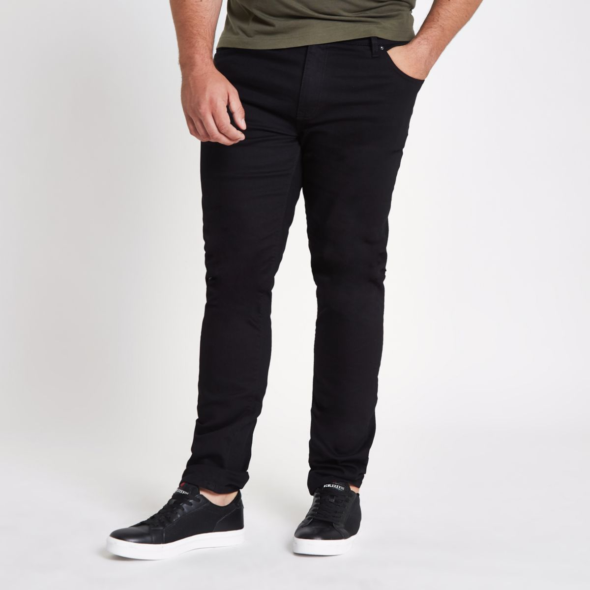 Big & Tall slim jeans in black River Island Ux3Ntk4