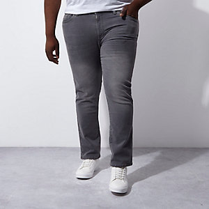 Big & Tall – Dylan – Graue Slim Fit Jeans