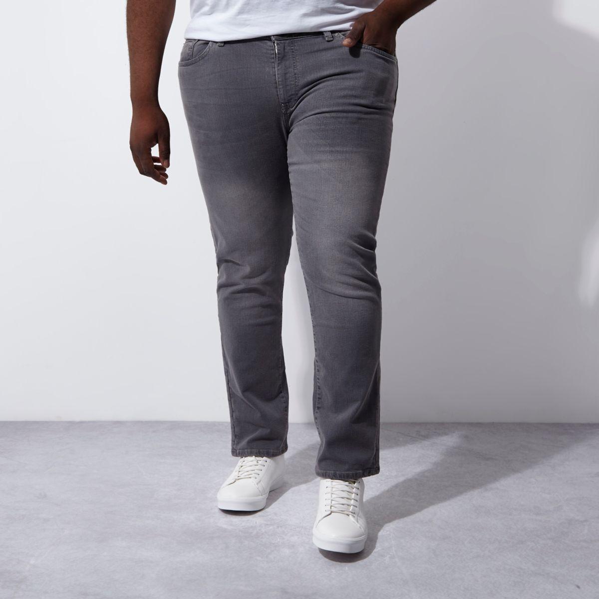 Big & Tall – Dylan – Graue Slim Fit Jeans