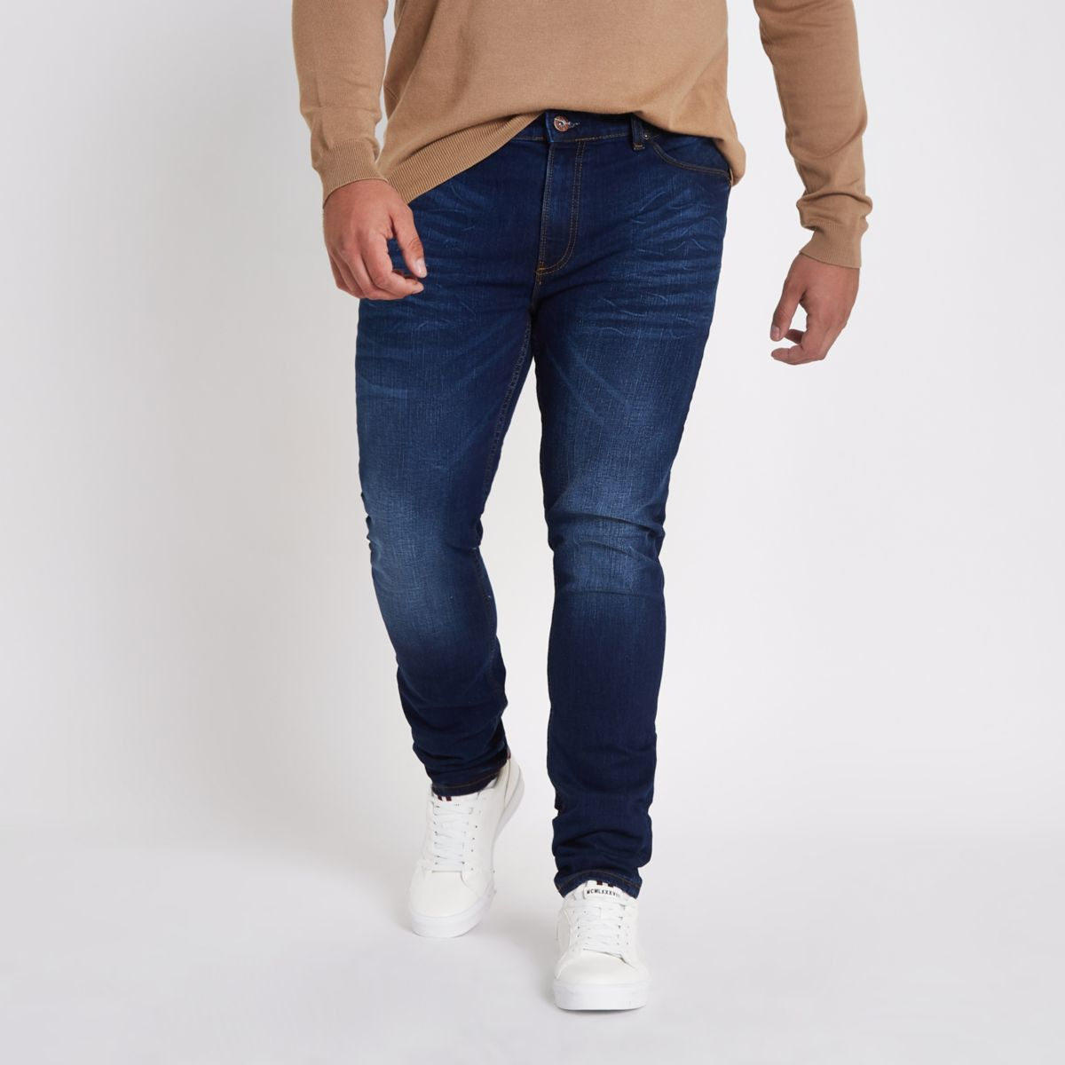 Big and Tall dark blue Sid fade skinny jeans