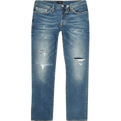RI Big and Tall Dylan Blauwe ripped slim-fit jeans