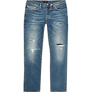 Big & Tall – Dylan – Blaue Slim Fit Jeans im Used-Look