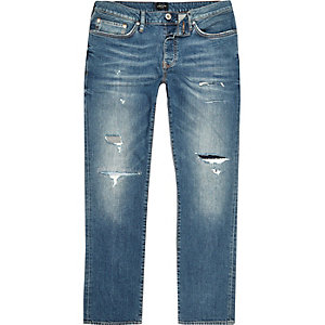 RI Big and Tall - Dylan - Blauwe ripped slim-fit jeans