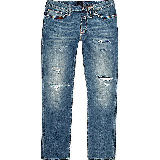 Big and Tall blue Dylan ripped slim fit jeans