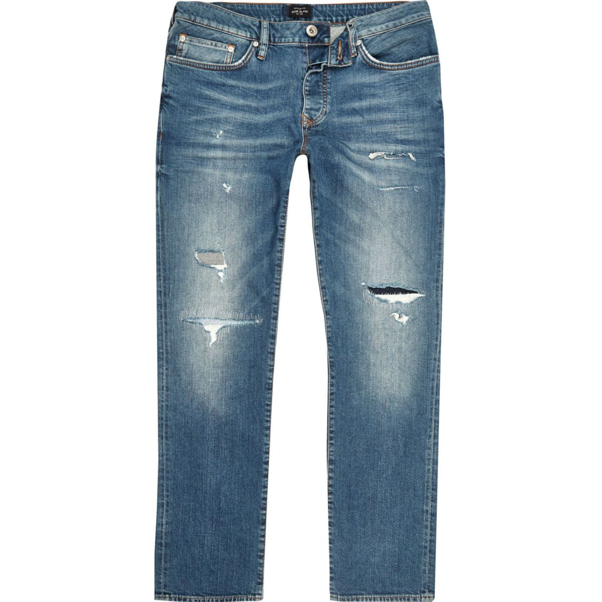 Big & Tall – Dylan – Jean slim bleu déchiré