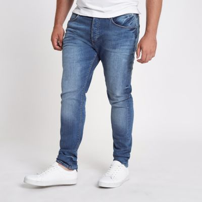 RI Big and Tall Sid Middenblauwe wash skinny jeans