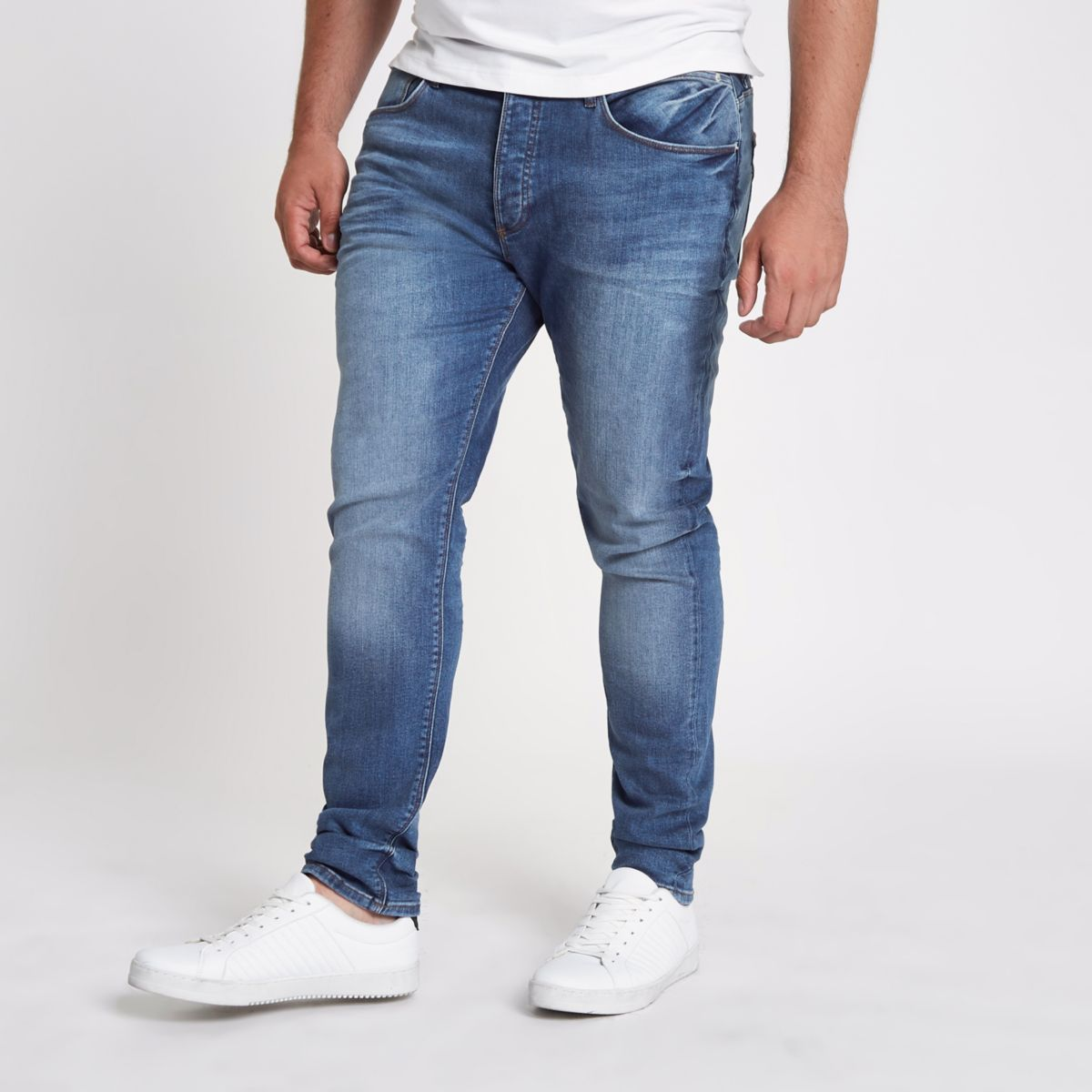 RI Big and Tall - Sid - Middenblauwe wash skinny jeans
