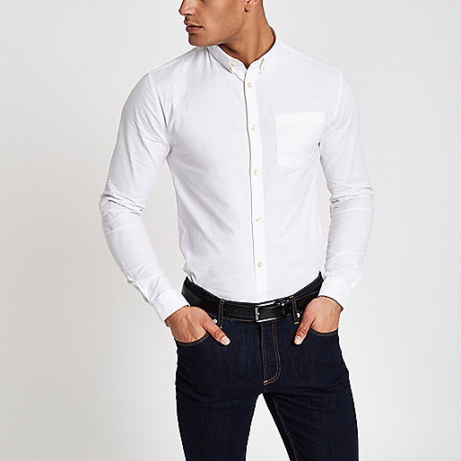 White muscle fit casual Oxford shirt