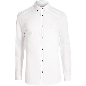White muscle fit casual shirt