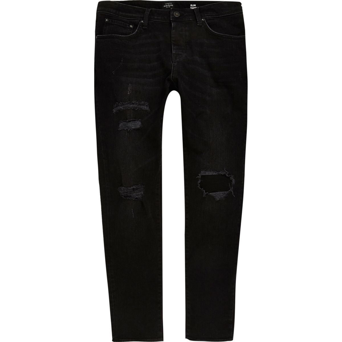 Big & Tall – Dylan – Schwarze Jeans im Used-Look